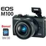 Canon EOS M100 Mirrorless Camera with 15-45mm Lens Black with Lexar 32GB SDHC Class 10 Memory Card