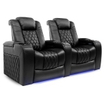 Valencia Tuscany Top Grain Nappa Leather Power Reclining, Power Lumbar, Power Headrest Home Theater Seating Row of 2-Seat