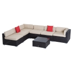 Outsunny 7pcs Wicker Patio Furniture Sectional Sofa Set Cushioned Seat Backyard