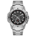 Caravelle New York 48mm Men's Chronograph Dress Watch - Silver/Black