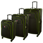 SWISSGEAR Souvenir IV 3-Piece Soft Side Expandable Luggage Set - Black/Green