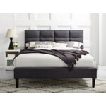 Zoey Transitional Upholstered Bed - Double - Grey