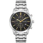 Bulova 43mm Men's Chronograph Dress Watch - Silver/Black/Gold