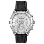 Bulova 43mm Men's Chronograph Dress Watch - Black/Silver