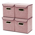 4-Pack Storage Box-Linen Fabric Foldable Containers with Drawers and Lid