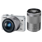 Canon EOS M100 Mirrorless Camera with 15-45mm + 55-200mm Lenses(White)- US Version w/Seller Warranty