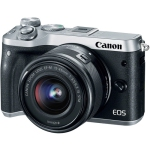 Canon EOS M6 Mirrorless with 15-45mm Lens Silver (International Version w/Seller Provided Warranty)