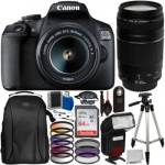 Canon EOS 2000D DSLR Camera with 18-55mm Lens, 75-300mm Lens and Accessory Bundle
