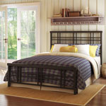 Amisco Heritage Rustic Country Queen Metal Bed - Cobrizo