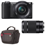 Sony A5000 Mirrorless Camera with 16-50mm / 55-210mm Lenses & Camera Bag
