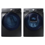 Samsung 5.2 Cu. Ft. HE Front Load Steam Washer & 7.5 Cu. Ft. Electric Steam Dryer - Black Stainless