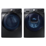 Samsung 5.8 Cu. Ft. HE Front Load Steam Washer & 7.5 Cu. Ft. Electric Steam Dryer - Black Stainless