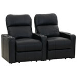 2 sièges inclinables électriques en cuir de surface Turbo XL700 pour cinéma maison - Noir