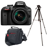 Nikon D3400 DSLR Camera with 18-55mm VR Lens Kit, Platinum Camera Bag and Insignia Tripod - Black