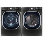 LG 5.2 Cu.Ft High Efficiency Front Load Steam Washer & 7.4 Cu. Ft. Electric Steam Dryer - Black