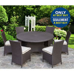 "Tropea 7-Piece Patio 56"" Round Table Dining Set - Buckeye Brown/Dark Brown - Only at Best Buy"