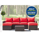 Lioni Tropea 7-Piece Patio Conversation Set - Buckeye Brown/Candy Red - Only at Best Buy