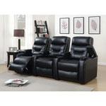 3 fauteuils inclinables électriques en similicuir Saturn pour cinéma maison - Noir