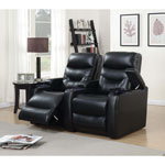 Saturn 2-Seat Leather Gel Power Recliner Home Theatre Seating - Black
