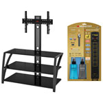 """Z-Line Designs Fiore TV Stand with 36"""" - 65"""" TV Mount, Monster Gold Power Bar, HDMI Cable & Cleaning Kit"""