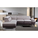Nina Contemporary 2-Piece Nappa Sectional Sofa with Right-Facing Chaise - Cream & Earth Stitching