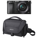 Sony A6000 Mirrorless Camera with 16-50mm Lens Kit & Soft Digital Camera Bag - Black