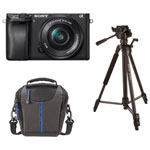 Sony a6300 Mirrorless Camera with 16-50mm Lens Kit, Tripod & Shoulder Bag