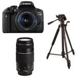 Canon EOS Rebel T6i DSLR Camera with 18-55mm/75-300mm Lenses & Tripod