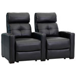 Octane Cloud XS850 2-Seat Bonded Leather Recliner Home Theatre Seating with Accessory Dock - Black