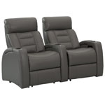 Octane Flex HR 2-Seat Leather Power Recliner Home Theatre Seating - Grey