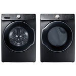 Samsung 5.2 Cu. Ft. HE SuperSpeed Front Load Steam Washer & 7.5 Cu. Ft. Electric Steam Dryer - Black