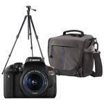 Canon EOS Rebel T6i DSLR Camera with 18-55mm Lens Kit, Tripod & Shoulder Bag