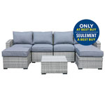 Lioni Elba 7-Piece Wicker Patio Conversation Set - Grey