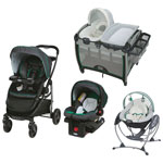 Graco Modes Standard Stroller with Infant Car Seat, Play Yard & Gliding Swing - Albie/Grey/Green