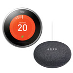 Nest Wi-Fi Smart Learning Thermostat 3rd Generation with Google Home Mini - Stainless Steel/Charcoal
