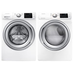 Samsung 5.2 Cu. Ft. High Efficiency Front Load Washer & 7.5 Cu. Ft. Electric Steam Dryer - White