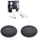Philips Hue A19 Smart LED Light Bulb Starter Kit with Dimmer Switch & 2 Google Home Minis - Charcoal