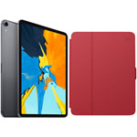 "Apple iPad Pro 11"" 256GB 4G LTE (1st Gen) with Folio Case & Screen Protector - Space Grey/Red"