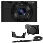Sony Cyber-shot RX100 20.2MP 3.6x Optical Zoom Digital Camera with Camera Case - Open Box - Black