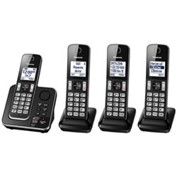 7052acd136d Panasonic 4-Handset DECT Cordless Phone with Answering Machine (KXTGD394B)