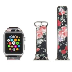 Soft Leather Replacement Strap Band with Flower Design and Metal Clasp for Apple  Watch Series 1