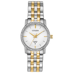 2c2952a3309 Citizen Quartz 27mm Women s Casual Watch with Swarovski Crystals - Silver  Gold White