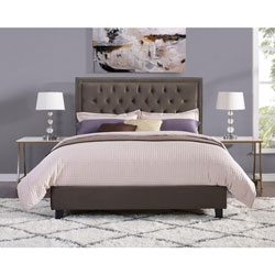 035cf9a24f349 Manhattan Modern Upholstered Platform Bed - Double - Chocolate