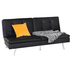 ViscoLogic Femina Split Back Convertible Futon Sofa Bed (Black)