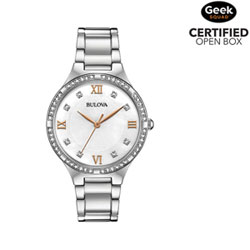 f8925a833f1 Available online only. Bulova 34mm Women s Dress Watch with Swarovski  Crystals - Silver White Rose Gold -
