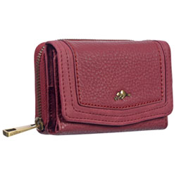 c73be403e0a Roots 73 Cliff B RFID Tri-fold Zip-Around Wallet - Berry