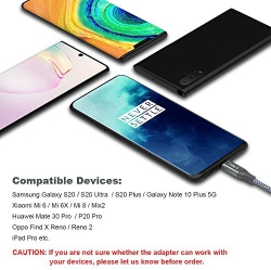 Jiunai Type C to 3.5mm Headphone Jack Microphone Connector Aux Audio USB-C Adapter Cable Support Calls Volume Control for OnePlus 7T Pro 7 6T Huawei Mate 30 Pro P30 Xiaomi 9 USB C Headphone Adapter