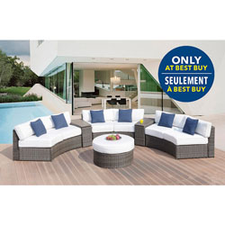 Majorca 6 Piece Sunbrella Wicker Curved Patio Conversation Set   Natural  White