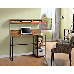 Contemporary Laptop Desk with Hutch - Natural Reclaimed