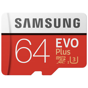 Samsung EVO Plus 64GB 100MB/s microSDXC UHS-3 Memory Card